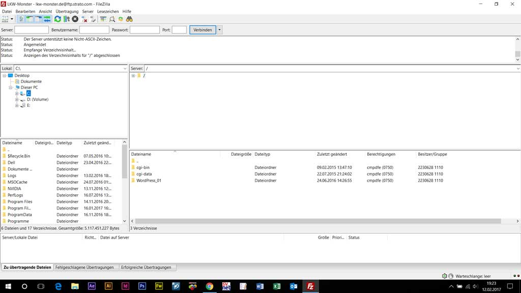 Dateiübertragung mit Filezilla