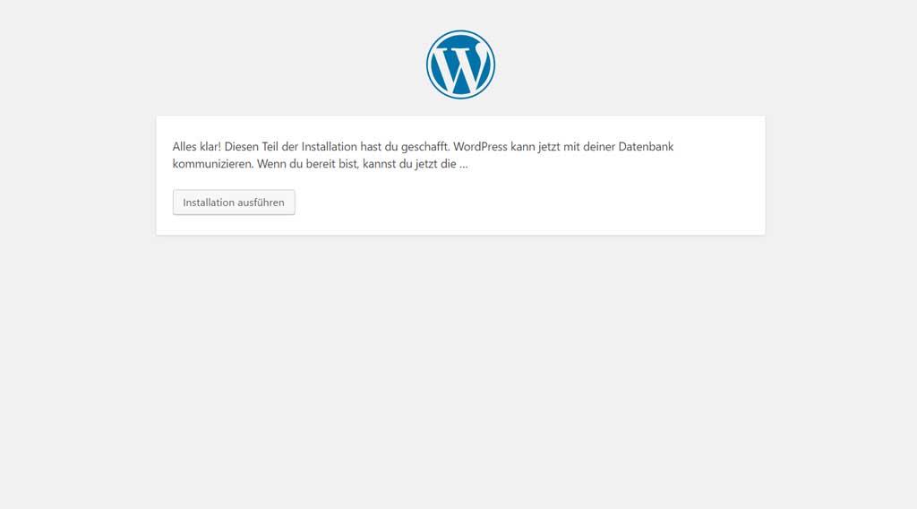 Startseite der Wordpress Installation