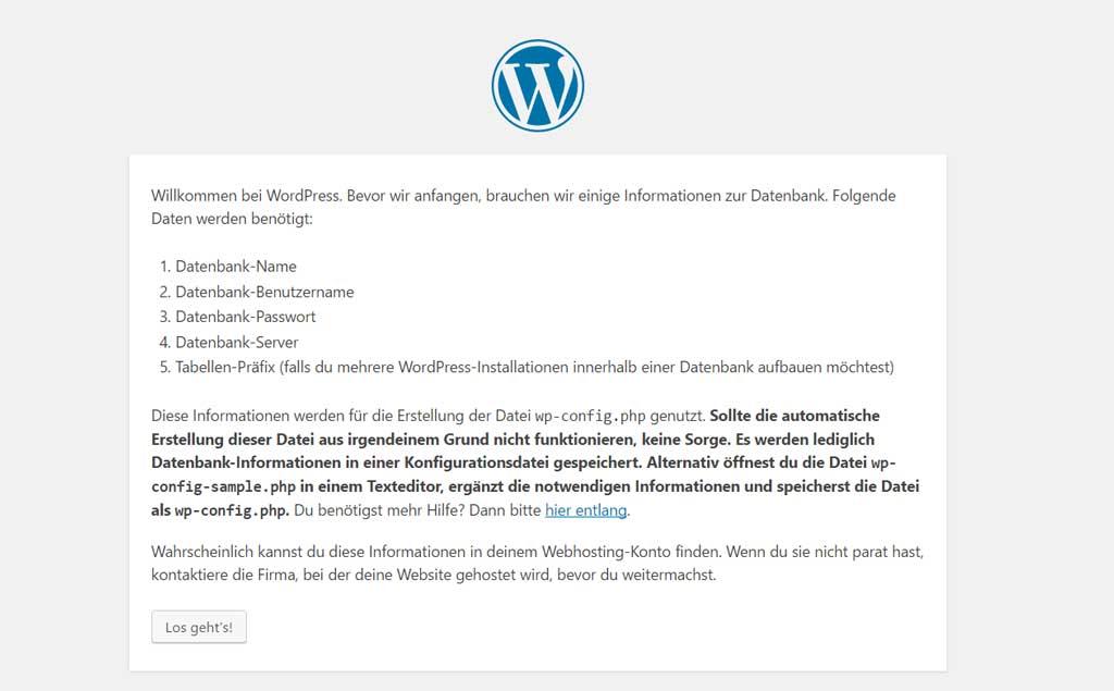 Wordpress Hinweise für die Installation